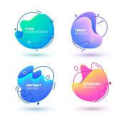 Abstract Fluid Trendy Gradient Banner Design. Circle Flow Shape Geometric Bright Badge Set for Presentation. Colorful Modern Pattern Dynamic Splash Poster Vector Illustration