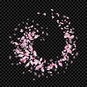 Vector floral background. Vector circular vortex of pink flying petals