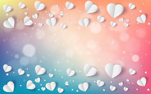 Abstract flying red and white hearts on red background. Valentines day concept