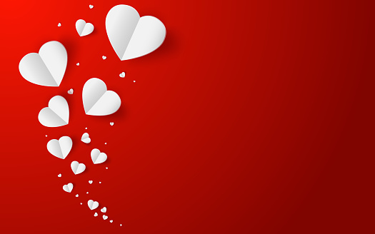 Abstract flying  white hearts on red background. Valentines day concept