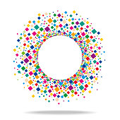 Vector Illustration of a Beautiful Abstract Circle Focus Center Empty Copy Space with Colourful Squares