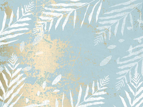abstract foliage pastel blue  gold blush background. Chic trendy print with botanical motifs