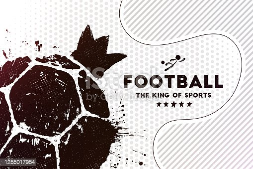 istock Abstract football background with grunge soccer ball print 1255017954