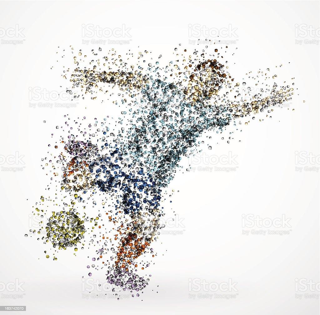 Abstract football player vector art illustration