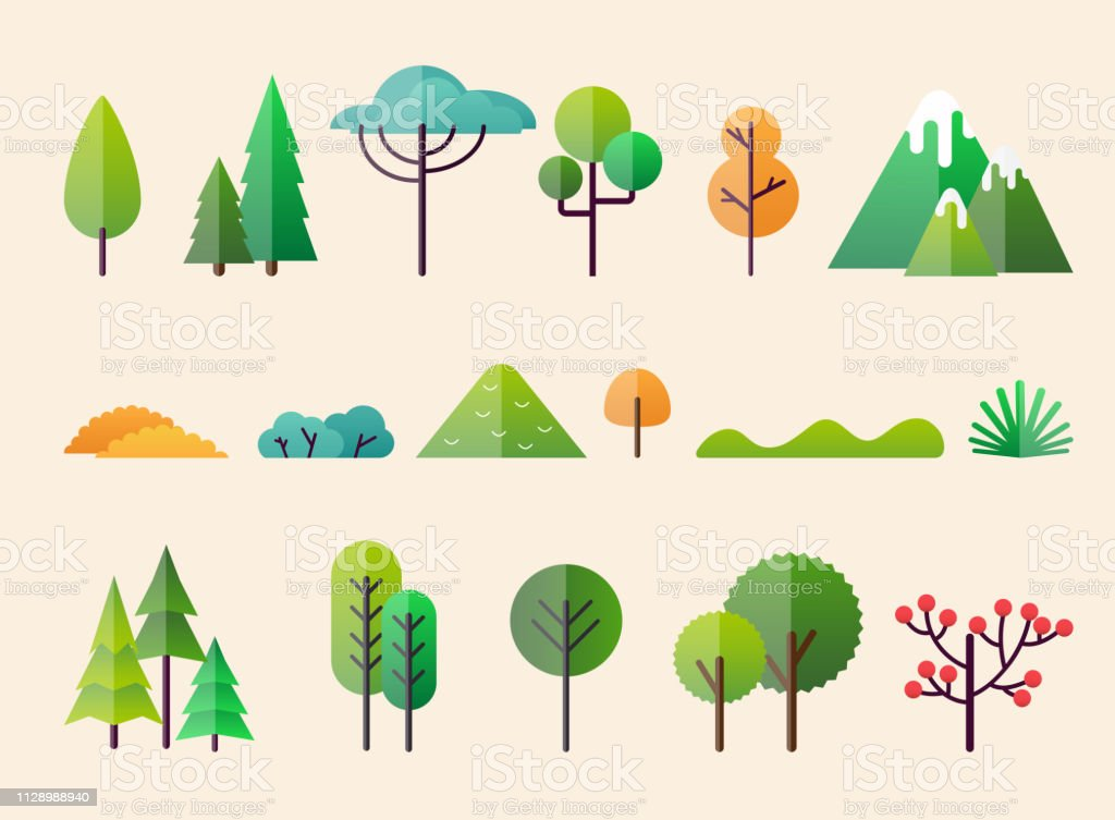 Abstract forest plants and trees. Forest landscapes. - Royalty-free Ao Ar Livre arte vetorial