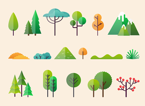 Abstract forest plants and trees. Forest landscapes. clipart