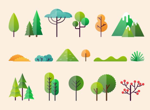bildbanksillustrationer, clip art samt tecknat material och ikoner med abstrakta skogen växter och träd. skogslandskap. - forest