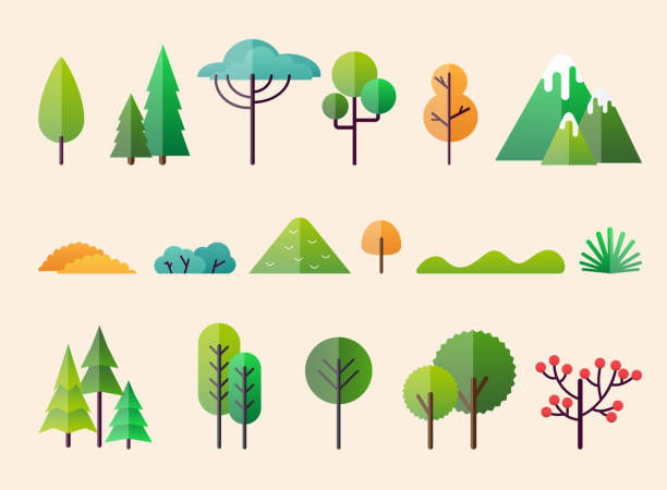 abstract forest plants and trees. forest landscapes. - trees stock illustrations