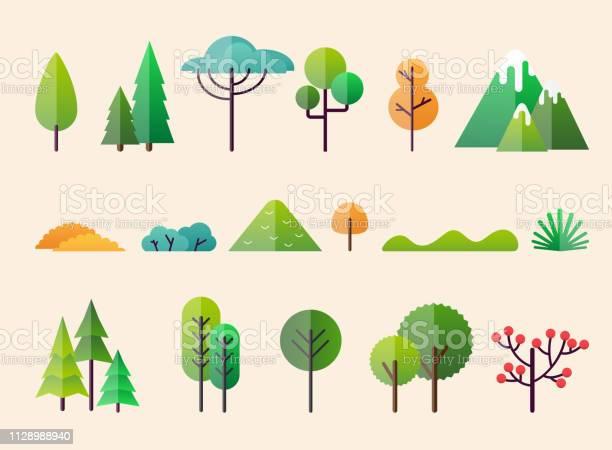 Abstract Forest Plants And Trees Forest Landscapes - Arte vetorial de stock e mais imagens de Ao Ar Livre