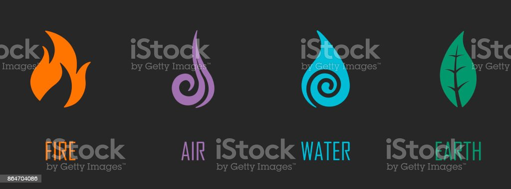 Abstract Four Elements Symbols Stock Vector Art More Images Of
