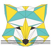 Abstract fox isolated on white background. Polygonal triangle geometric illustration