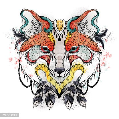 Abstract Fox Stock Vector Art & More Images of Abstract 597268900