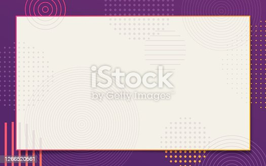 Abstract frame with purple border edge and halftone stipple dots and concentric circles with space for your copy.
