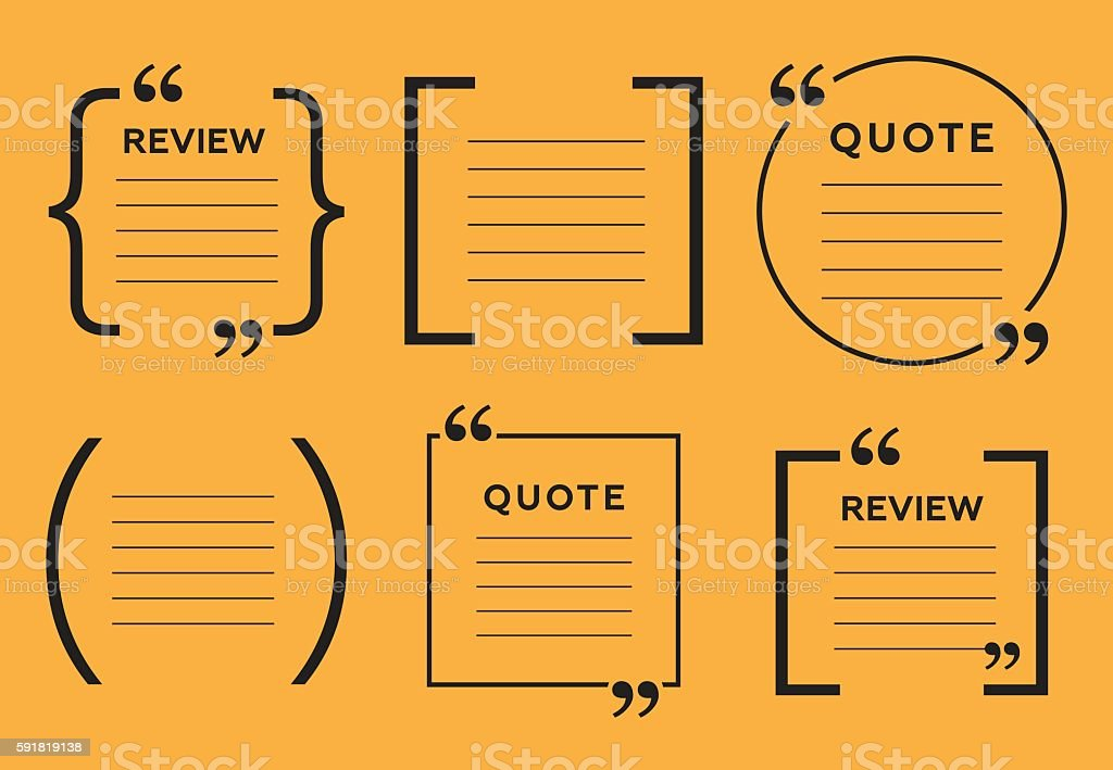 Abstract frame for quotes on yellow background vector art illustration