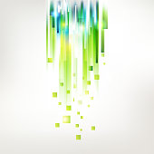 Abstract fresh green lines from top