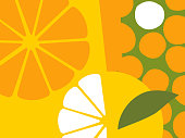Abstract fruit design in flat cut out style. Oranges and orange sections. Vector illustration.