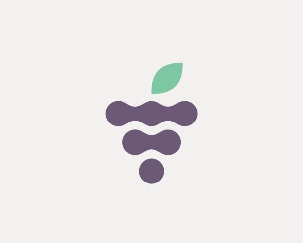 illustrazioni stock, clip art, cartoni animati e icone di tendenza di abstract fruit leaf vector logo symbol icon. wine grape idea logotype. health fresh creative sign. - healthy green juice
