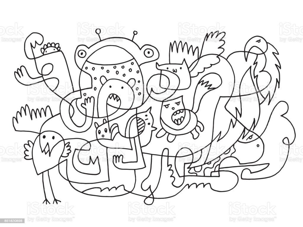 Soyut Komik Doodle Hayvanlar çizim Stok Vektör Sanatı Almanyanin