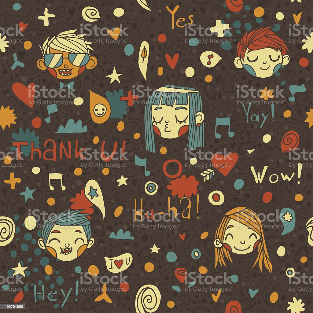 Abstract funny seamless people pattern vector art illustration