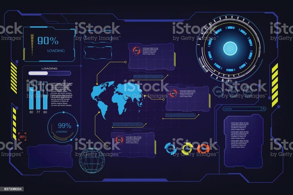 abstract future hud ui gui interface screen hi tech concept background template vector art illustration