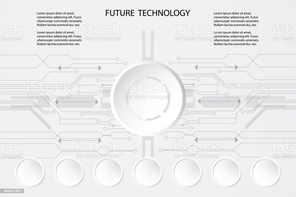 Abstract Future Technology Circle And The Circuit Background Concept ...