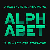Abstract futuristic alphabet typeface. Type letters and numbers. Vector font for your headers or any typography design.
