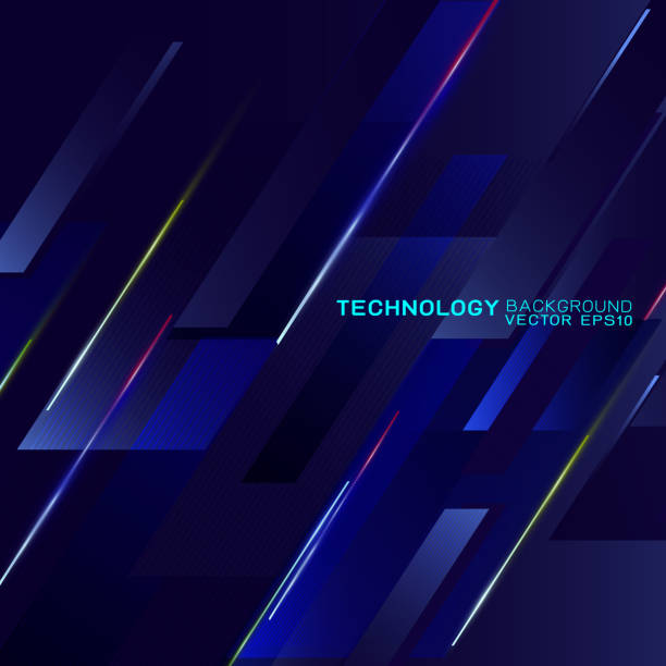 Abstract futuristic and technology concept with light movement on dark background, Vector illustration vector art illustration