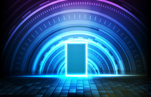 abstract futuristic background of glowing sqaure neon door and round futuristic technology user interface screen hud
