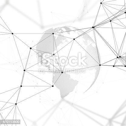 801051868istockphoto Abstract futuristic background with connecting lines and dots, polygonal linear texture. World globe on white. Global network connections, geometric design, dig data technology digital concept 870113500