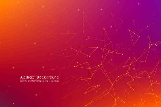 Abstract futuristic background with dots and lines, molecular particles and atoms, polygonal linear digital texture, technological and scientific concept, vector illustration Abstract futuristic background with dots and lines, molecular particles and atoms, polygonal linear digital texture, technological and scientific concept, vector illustration. neuroscience abstract stock illustrations