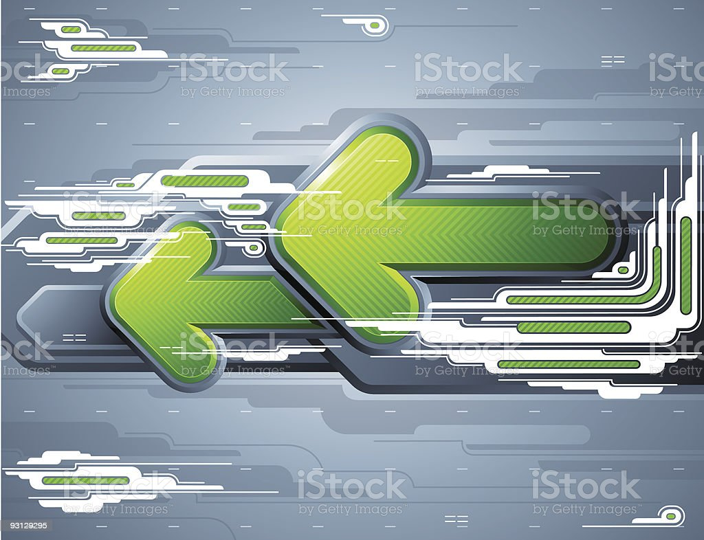 Abstract futuristic background with green arrows. royalty-free stock vector art