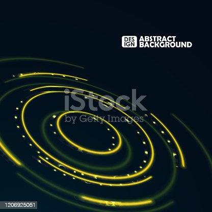 Abstract futuristic blurred circles. Science technology machine. Graphic concept for your design