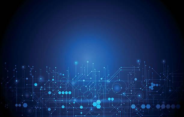 abstrakte futuristisch schaltkreis, hohe computer technologie dunklen blauer hintergrund - farbchips stock-grafiken, -clipart, -cartoons und -symbole