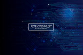Abstract futuristic circuit board, high computer technology dark blue background