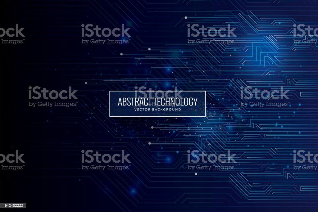 Abstract futuristic circuit board, high computer technology dark blue background vector art illustration