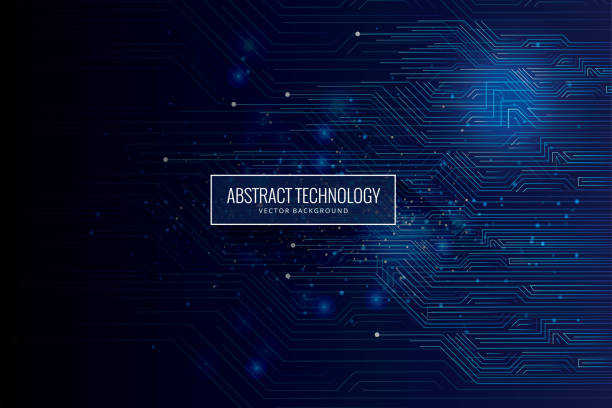 Abstract futuristic circuit board, high computer technology dark blue background Technology, Data, Computer, Blackboard, Internet electrical equipment stock illustrations