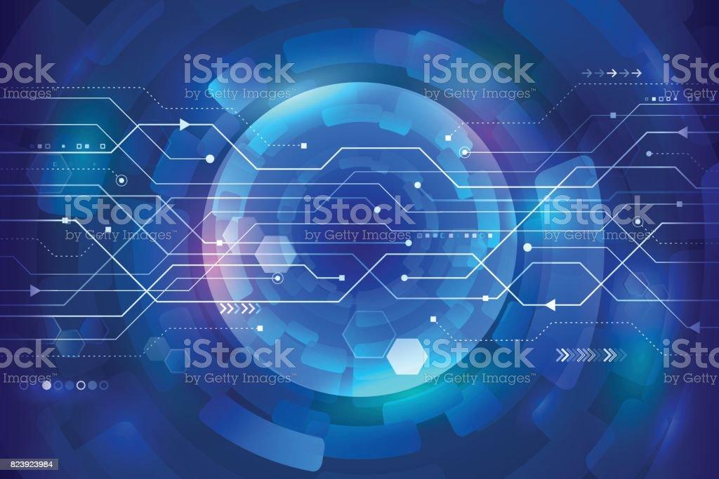 抽象的な未来回路基板青の背景に...