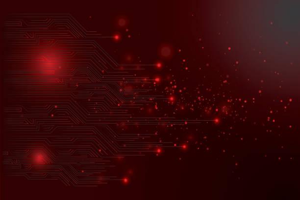 ilustrações de stock, clip art, desenhos animados e ícones de abstract futuristic circuit board - vr red background