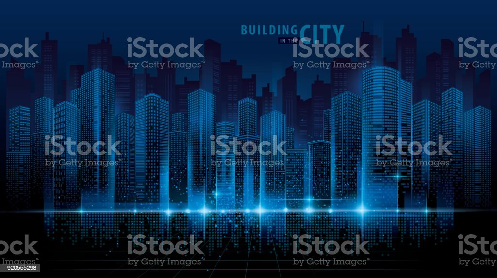abstract futuristic city vector digital cityscape background transparent city landscape royalty free abstract