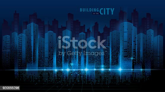 abstract futuristic city vector digital cityscape background transparent city landscape stock vector art more images of architecture 920555298 istock
