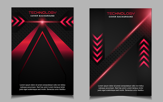 Abstract futuristic cover a4 background template with red technology style concept on black shapes.