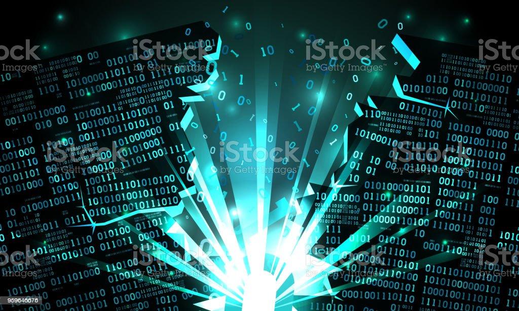 Resumen ciberespacio futurista con una hackeada matriz de datos binarios, explosión con los rayos de luz, código binario saltar, Fondo de matriz, datos gran firewall, bien organizados, capas - arte vectorial de Abstracto libre de derechos