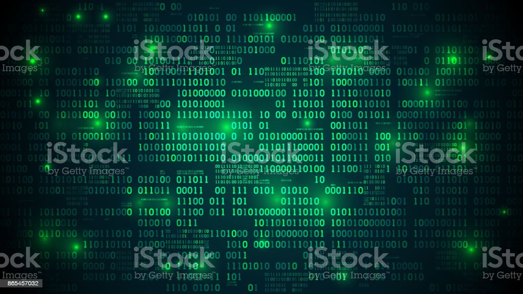 Abstract futuristic cyberspace with binary code, matrix background with digits, well organized layers vector art illustration