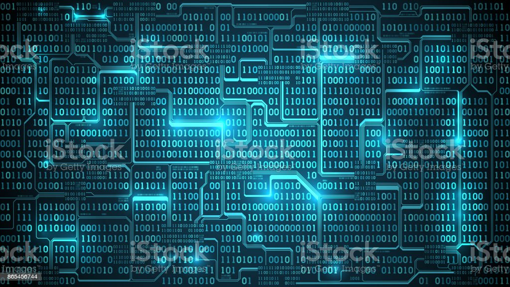 Abstract Futuristic Electronic Circuit Board With Binary Code Matrix  Background With Digits Well Organized Layers Stock Illustration - Download  Image