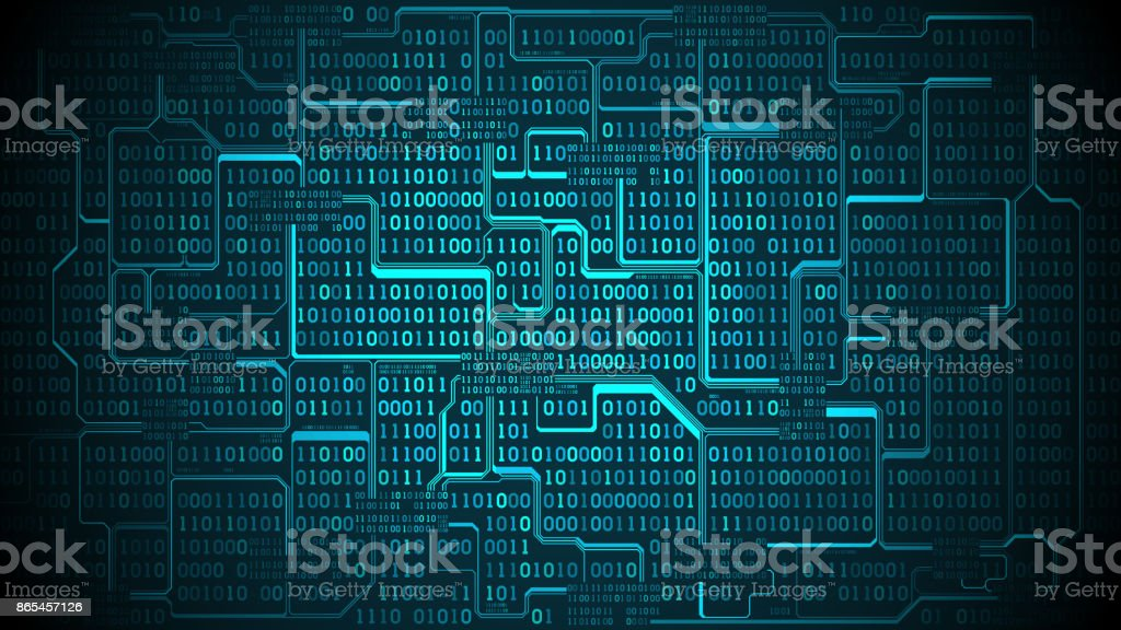 Abstract Futuristic Electronic Circuit Board With Binary
