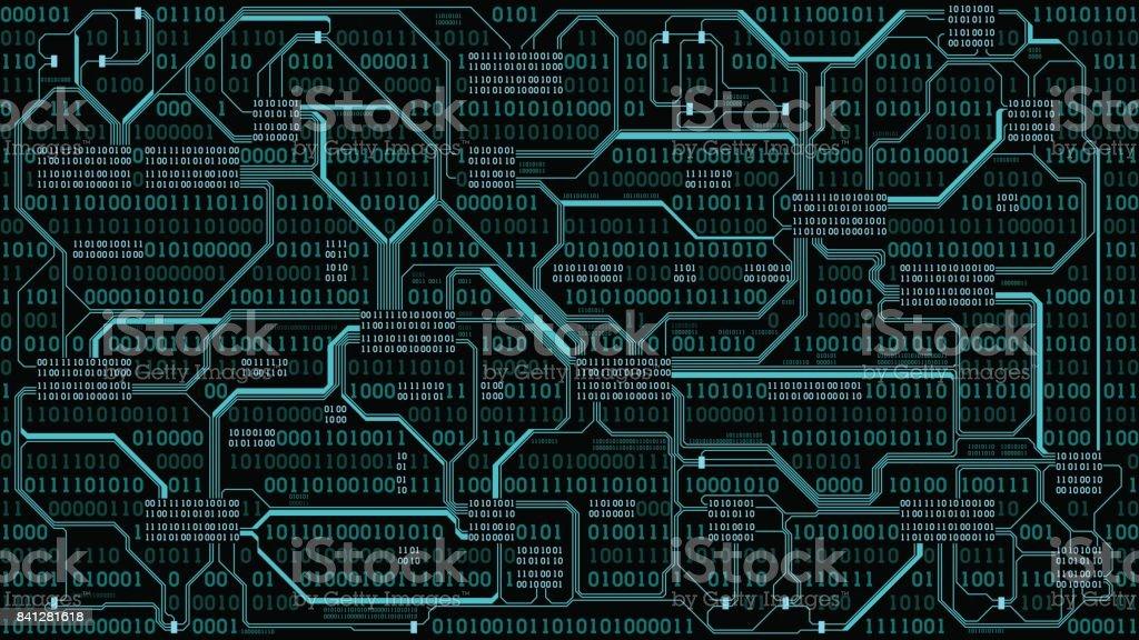 Soyut Fütüristik Elektronik Devre Kartı Ile Ikili şifre Bilgisayar