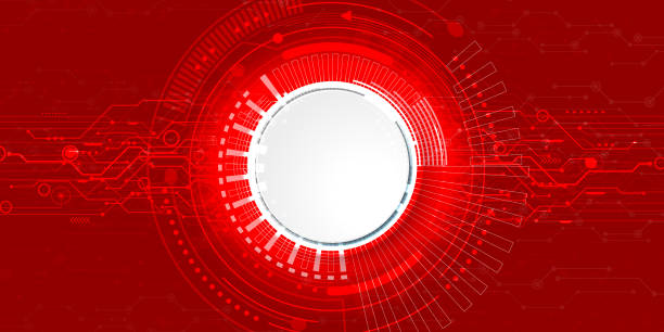 ilustrações de stock, clip art, desenhos animados e ícones de abstract futuristic electronic circuit technology background - vr red background