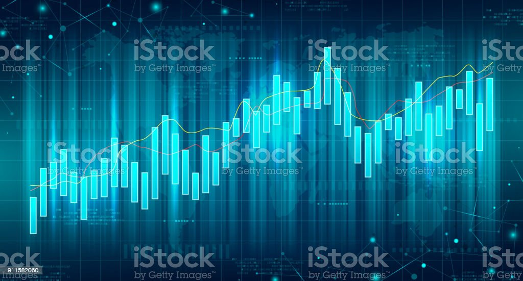 Abstract Futuristic Financial Chart vector art illustration