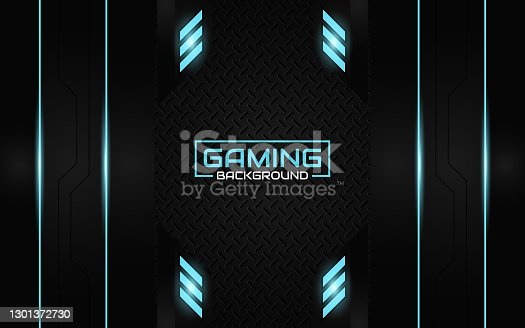 istock Abstract futuristic geometric black and blue gaming background with modern esport shapes. Vector design template technology concept 1301372730