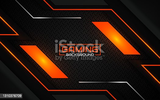 istock Abstract futuristic geometric black and orange gaming background with modern esport shapes. Vector design template technology concept 1310376709